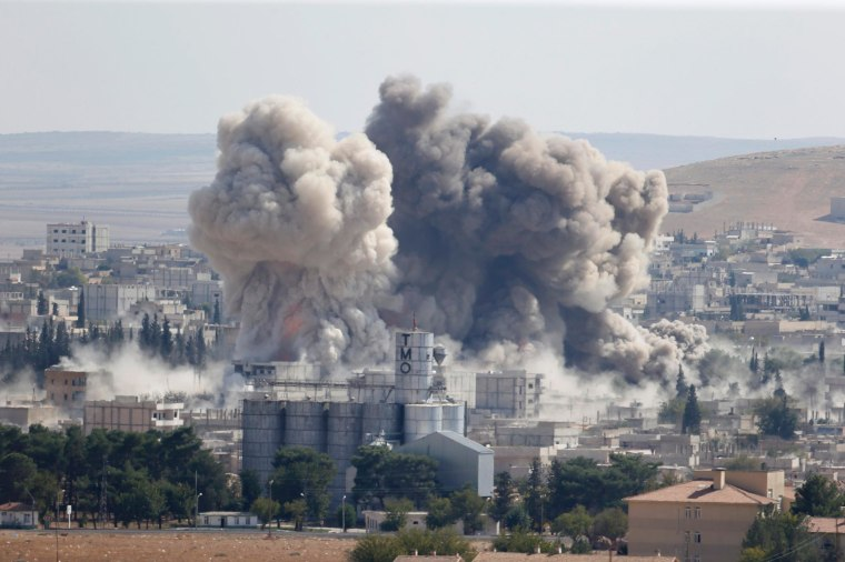 Image: Smoke rises after an US-led air strike in the syrian town of Kobani