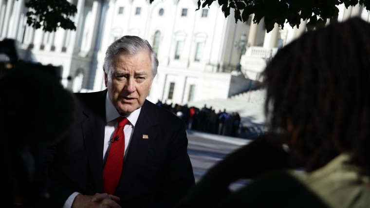 Former GOP Sen. Larry Pressler, an independent candidate for South Dakota Senate, give an interview outside the U.S. Capitol on Oct. 8.