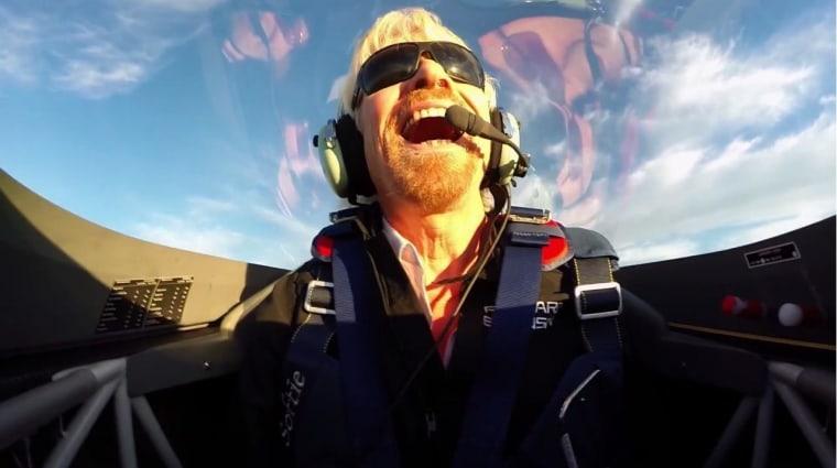 Image: Branson in aerobatic plane