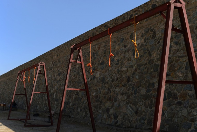 Image: Nooses hang at the site of execution in Pul-e-Charkhi prison, on the outskirts of Kabul