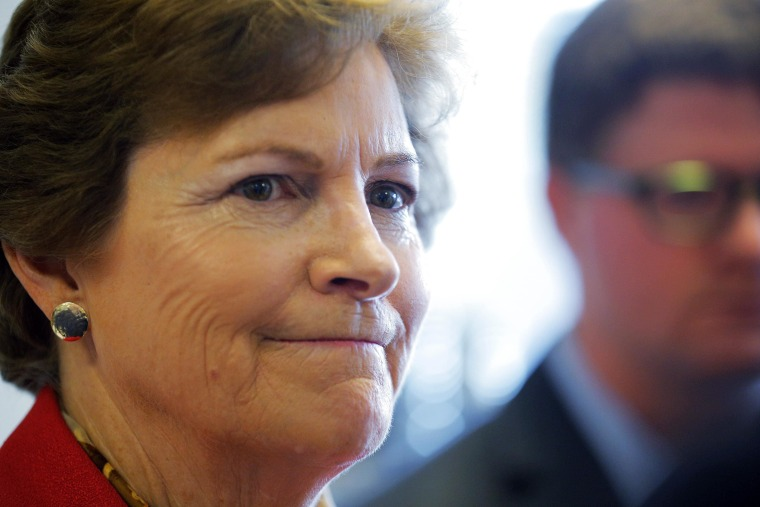 Image: U.S. Senator Jeanne Shaheen (D-NH) listens to a question from a reporter during a campaign event at Creative Chef Kitchens in Derry
