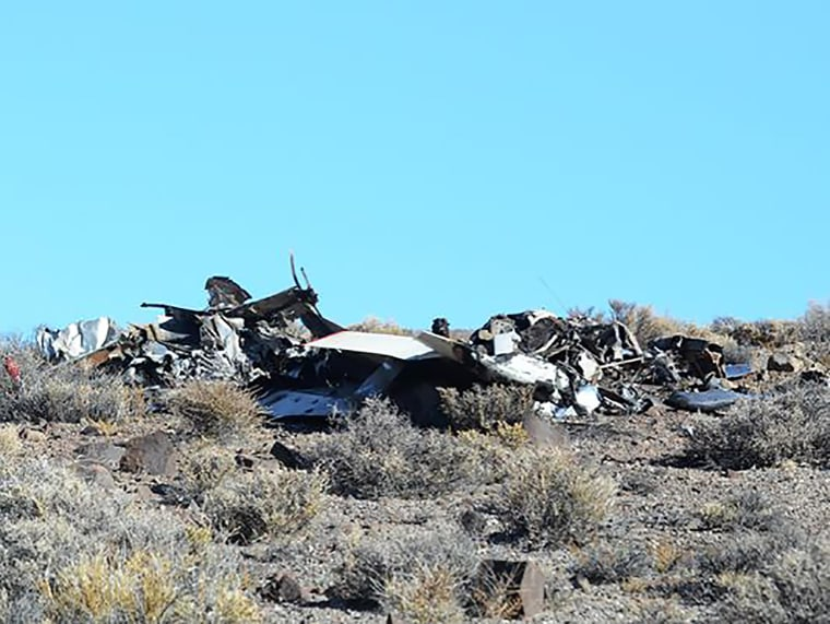The wreckage of two aircraft after a collision near the town of Yerington, Nevada.