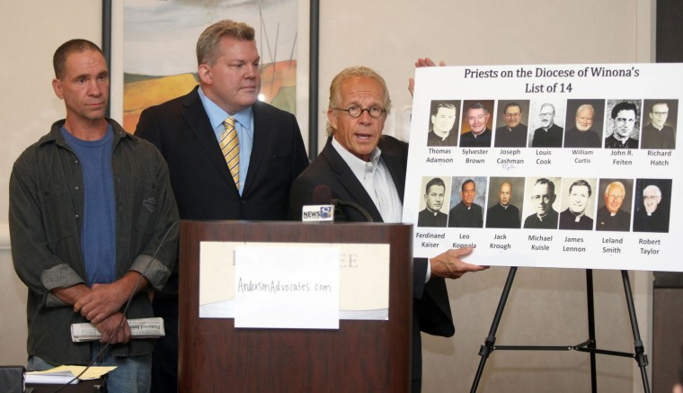 Image: The files of 14 priests with credible allegations of child sexual abuse in the Diocese of Winona were released at a news conference