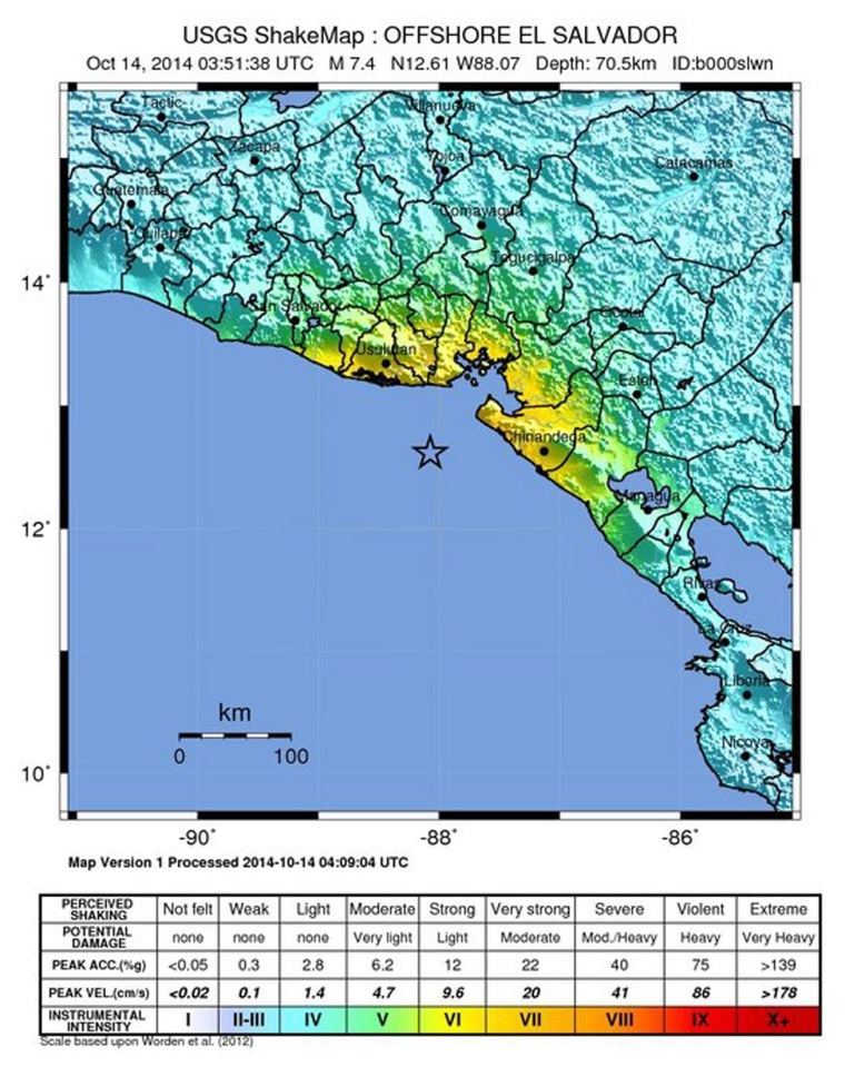 Image: Magnitude 7.3 earthquake off the coast of El Salvador