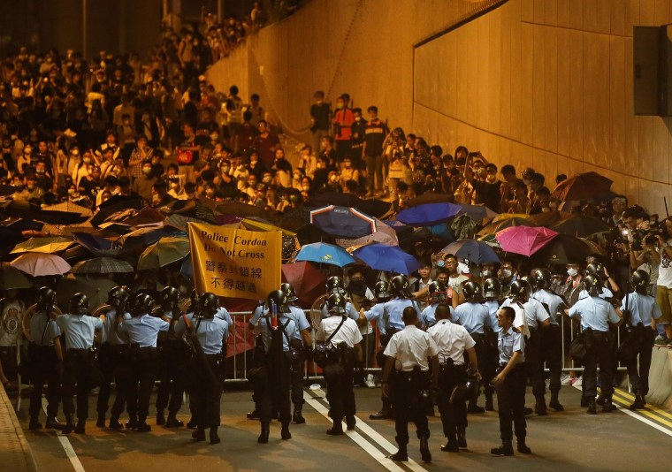 Pro-democracy protesters from the Occupy Central movement occupy a tunnel road in Admiralty District of Hong Kong, China, on Oct. 14.