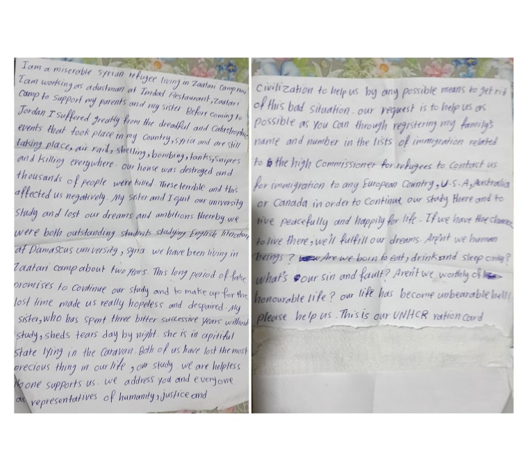 Image: Letters handed to a UNHCR worker at the Zaatari refugee camp in Jordan by a 21-year-old Syrian refugee.