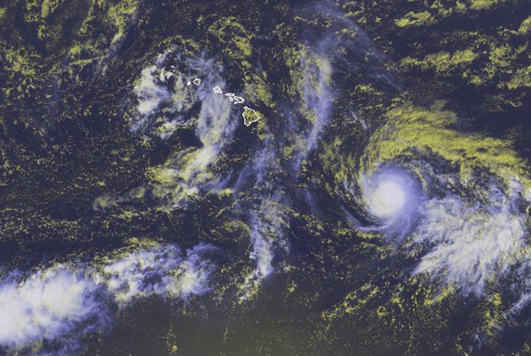 Image: Tropical Storm Ana is seen in a NOAA satellite image