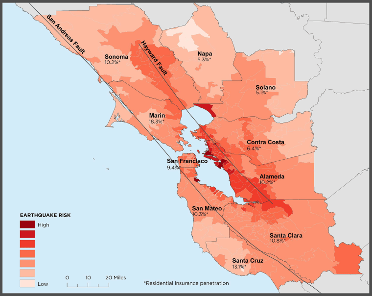 This map shows risk of a 6.7 magnitude earthquake or greater striking over the next 30 years, along with percentage of homeowners who carry earthquake insurance.