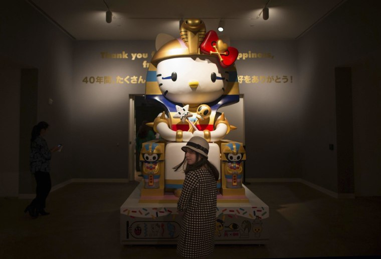 Image: Vivian Wolfson, 10 views 'Kittypatra' by Simone Legno For Tokidoki at the 'Hello! Exploring the Supercute World of Hello Kitty' museum exhibit in honor of Hello Kitty's 40th anniversary, at the Japanese American National Museum in Los Angeles