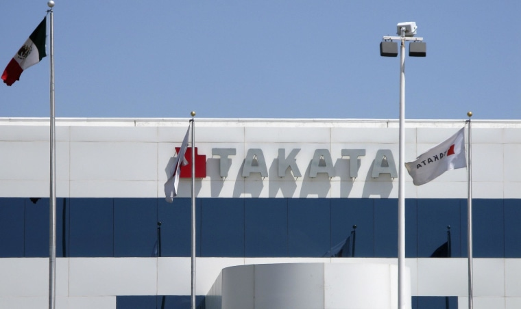 Image: File photo of the Takata logo at its factory near Monclova