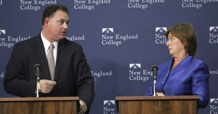 In this Tuesday Oct. 19, 2010, file photo, Democrat  U.S. Rep. Carol Shea-Porter, right, and Republican Frank Guinta spar during a debate at New England College in Henniker, N.H. Guinta won the election that year, two years later Shea-Porter won the election and unseated Guinta. In 2014 the two face each other for a third time, the 1st Congressional District is starting to resemble a best-of-three ping-pong tournament, with voters bouncing back and forth. (AP Photo/Jim Cole)