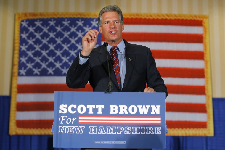 Image: Republican candidate for the U.S. Senate Brown speaks to supporters after winning the Republican primary in Concord