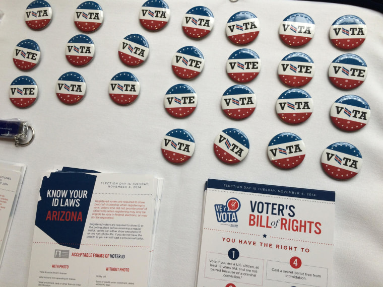 Election materials are displayed on a table at an October 21, 2014 event regarding the Latino vote. The event was held at the National Press Club.