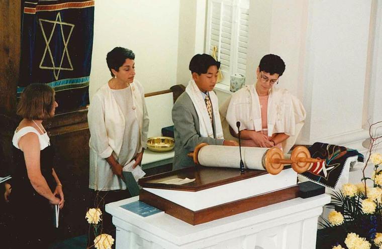 Image: Bar Mitzvah at Temple Micah, Lawrenceville, NJ. From Right, Rabbi Ellen Greenspan, Ben Oser, his  Aunt Jane Greenhood, and  Aunt Jennifer Levins; April of 1997
