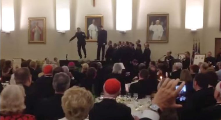 American priests tap dance at the North American College, the elite American seminary up the hill from the Vatican, in a video published on YouTube.