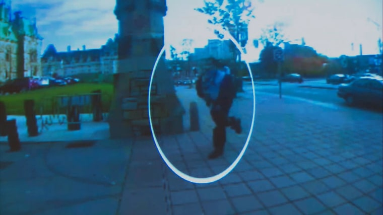 Image: Surveillance footage of suspected gunman Michael Zehaf-Bibeau before the shooting