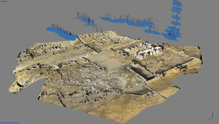 3D model of the planned colonial town of Mawchu Llacta in highland Peru, reconstructed from 241 aerial photos.