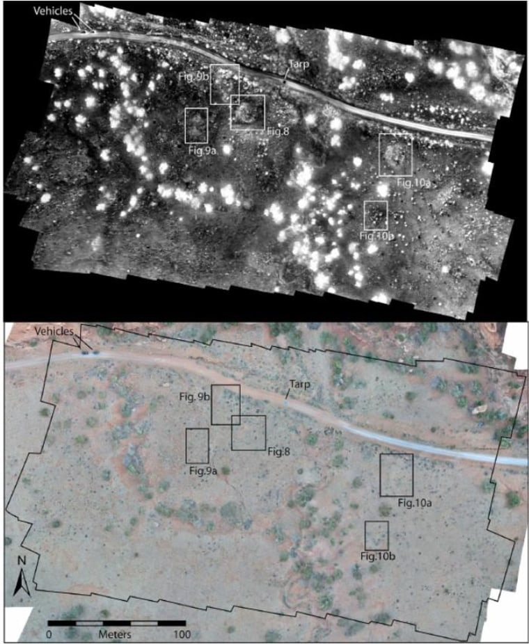 In the thermal image (top), features can be distinguished that are far more difficult to see in the visible-light photo below.