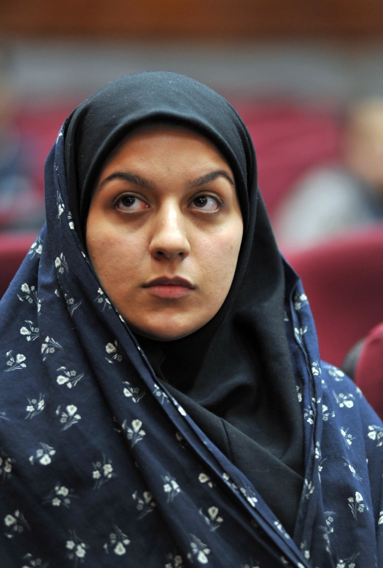 Iranian Reihaneh Jabbari attends her trial in Tehran in 2008. According to the allegations, Jabbari killed her rapist with a knife in an act of self-defense in July of 2007. The court sentenced her to death for committing murder, and she was executed Saturday.