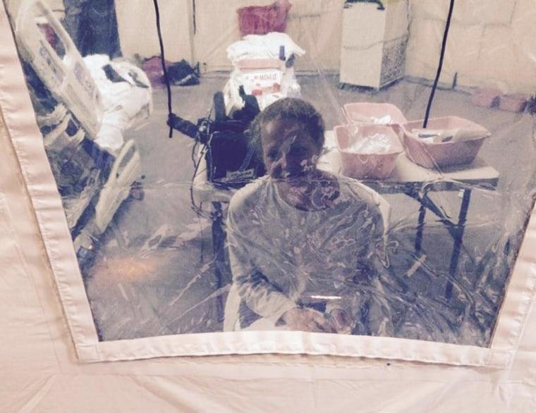 Image: Nurse Kaci Hickox in an isolation tent