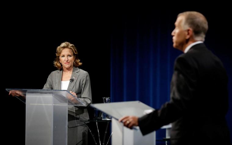 Image: Sen. Kay Hagan, D-N.C., left, and Republican candidate for Senate Thom Tillis participate during a live televised debate