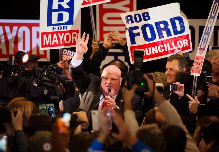 Image: Rob Ford speaks to supporters after winning his seat on city council