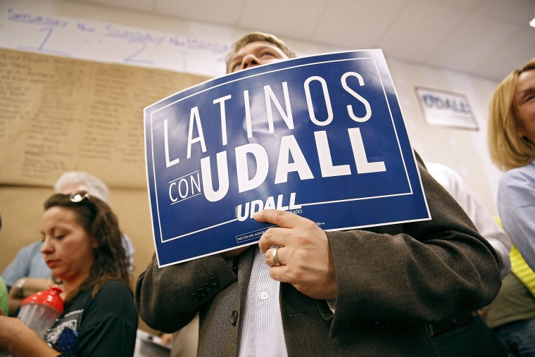 Image: Sen. Mark Udall Campaigns For Re-Election In Denver Area