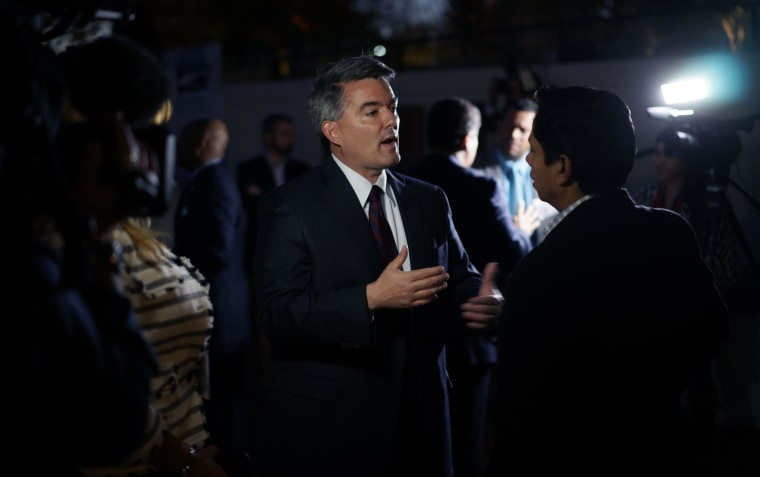 Image: Cory Gardner, Republican U.S. Senate candidate, talks to a reporter at the Hispanic Chamber of Commerce of Metro Denver event in Denver