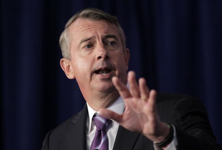 Virginia Republican Senate hopeful Ed Gillespie speaks during a town hall forum in Reston, Va, Monday, Sept 8. 2014. Gillespie and Sen. Mark Warner, D-Va. made their pitches to northern Virginia's tech community at the town hall forum. The Northern Virginia Technology Council is hosting a town hall forum Monday morning in Reston. (AP Photo/Luis M. Alvarez)