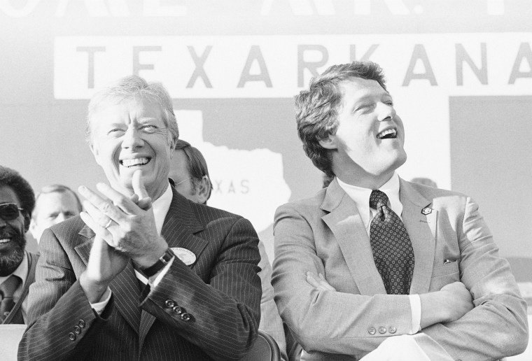 Image: President Jimmy Carter, left, and Gov. Bill Clinton