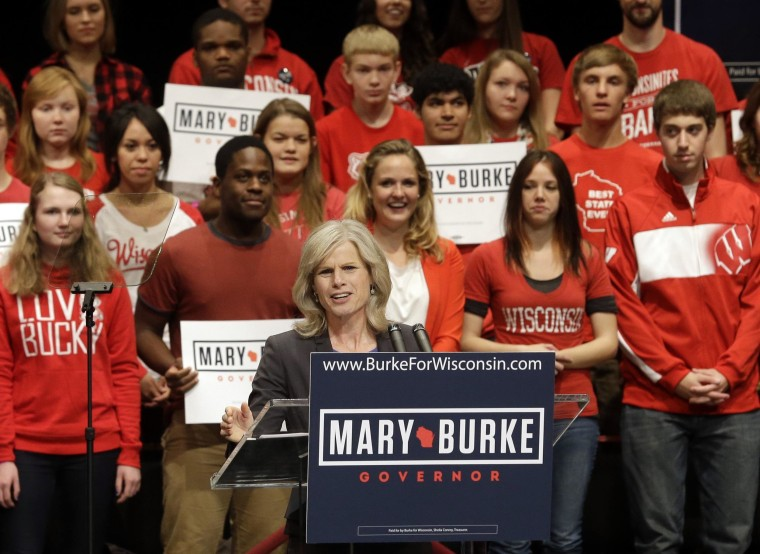 Wisconsin Democratic gubernatorial candidate Mary Burke speaks at a campaign event Tuesday, Oct. 7, 2014, in Madison, Wis. Burke was joined by first lady Michelle Obama, who rallied young voters Tuesday in Wisconsin's race for governor, saying if they show up to vote Republican Gov. Scott Walker can be defeated. (AP Photo/Morry Gash)