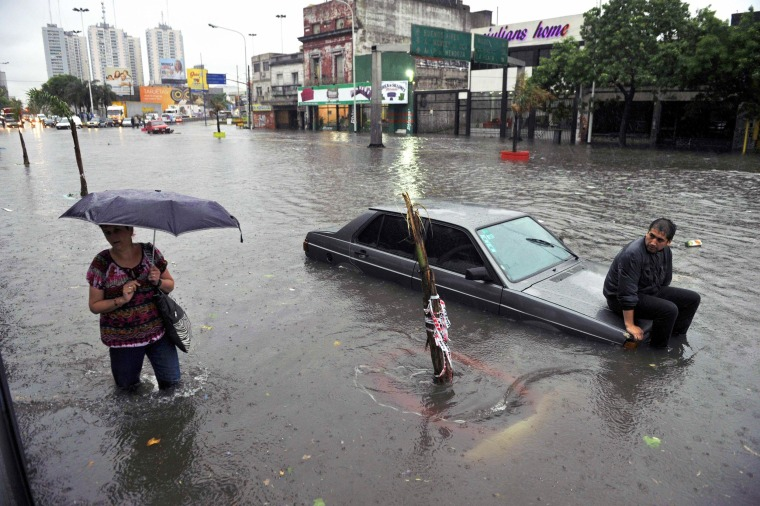 A flooded neighbourhood of Buenos Aires on Oct. 29 after heavy storms battered the region. Strong winds have caused damages in the Argentine province of Buenos Aires and also in parts of Uruguay and torrential rains triggered widespread floods in Argentina. No victims were reported so far in either country.