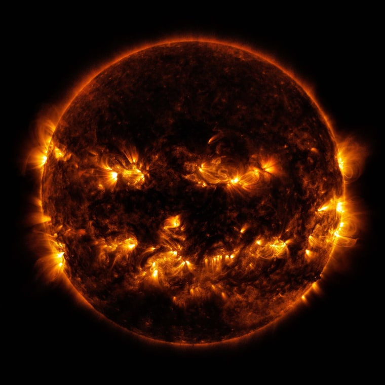 Image: Active regions on the sun combine to look something like a jack-o-lantern's face, as pictured in this image provided by NASA