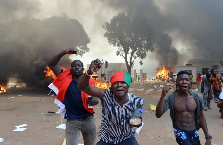 Image: Protesters in Burkina Faso on Thursday