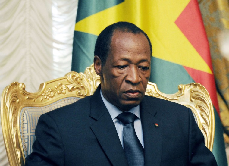 Burkina Faso's President Blaise Compaore at the Presidential Palace in Ouagadougou on July 26, 2014. Burkina Faso's embattled President Blaise Compaore announced on October 31, 2014 that he was stepping down following violent protests demanding an end to his 27-year rule.