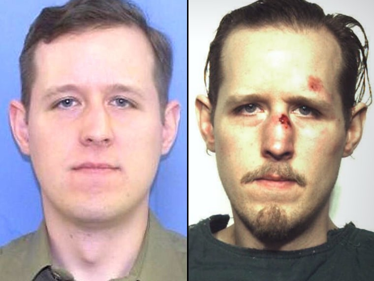 Eric Frein, left, in a photo distributed by authorities during his manhunt and, right, in booking mug after his capture.