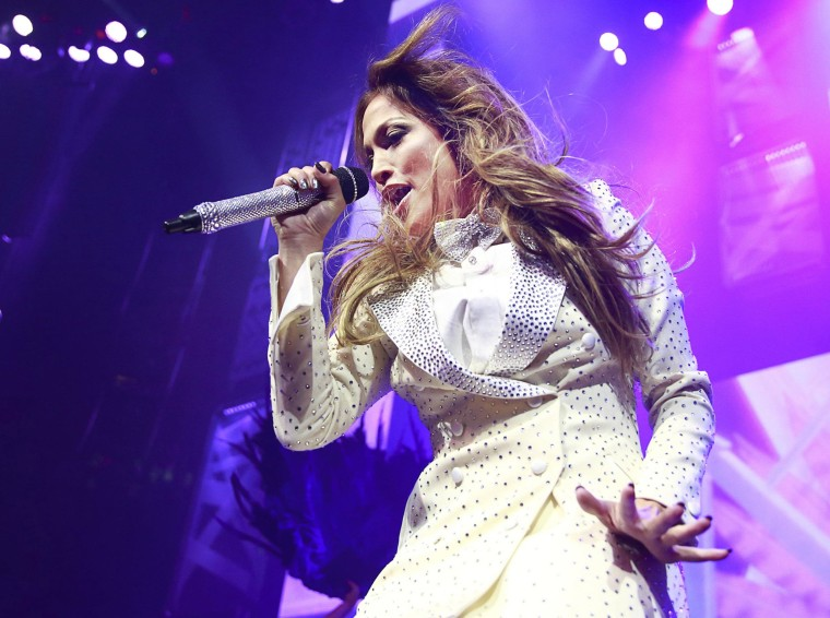 Jennifer Lopez performs at the Rogers Arena in Vancouver on October 22.