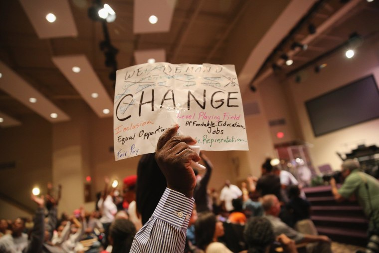 Image: Ferguson City Council Holds First Meeting Since Police Shooting Death Of Michael Brown