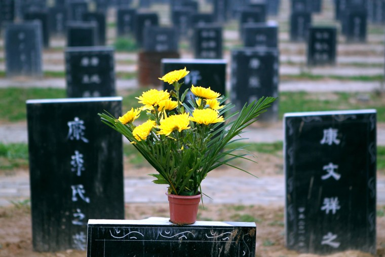 """This picture taken on November 25, 2012 shows tombstones at a public cemetery that was built for the """"flatten graves to return farmland"""" campaign in suburb Zhoukou, central China's Henan province. Zhoukou has halted a campaign to clear graves for farmland after the demolition of more than two million tombs sparked outrage in a country where ancestors are traditionally held in deep respect."""