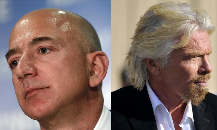 Jeff Bezos of Blue Origin (left) and Virgin Galactic's Richard Branson (right).