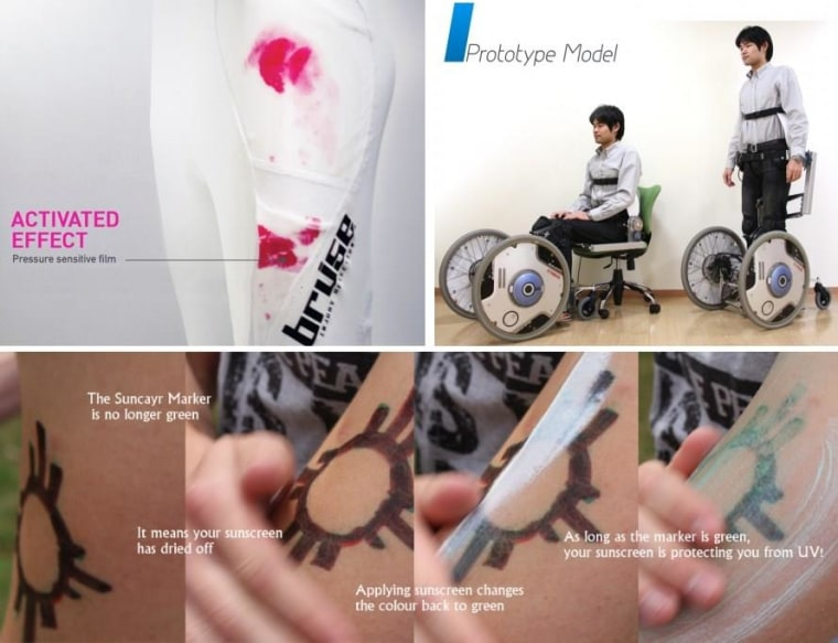 Runner-up projects for the Dyson Award: Bruise (top left), Qolo (top right), Suncayr (bottom).