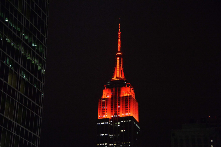 Image: The Empire State Building is illuminated in red representing the victory of the Republican party as they take control of the Senate.