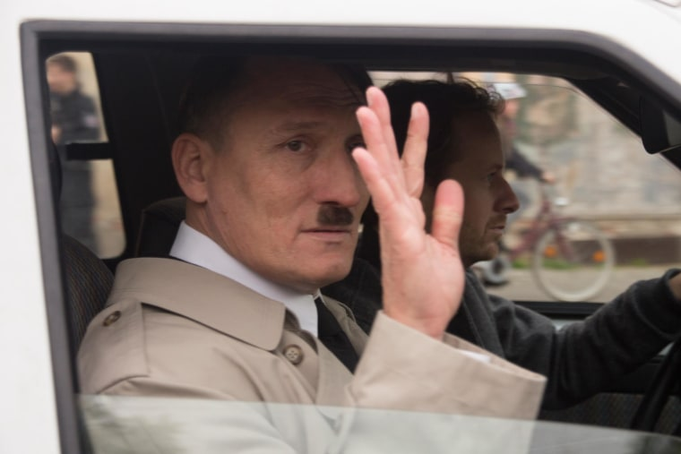 Actor Oliver Masucci appeared in public in the guise of Adolf Hitler