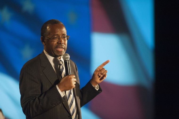 SCOTTSDALE, AZ - SEPTEMBER 5: Dr. Ben Carson speaks as the keynote speaker at the Wake Up America gala Event September 5, 2014 at the Westin Kierland Resort in Scottsdale, Arizona. Carson is a retired neurosurgeon who would run in the 2016 Presidential campaign as a conservative for the Tea Party. (Photo by Laura Segall/Getty Images)