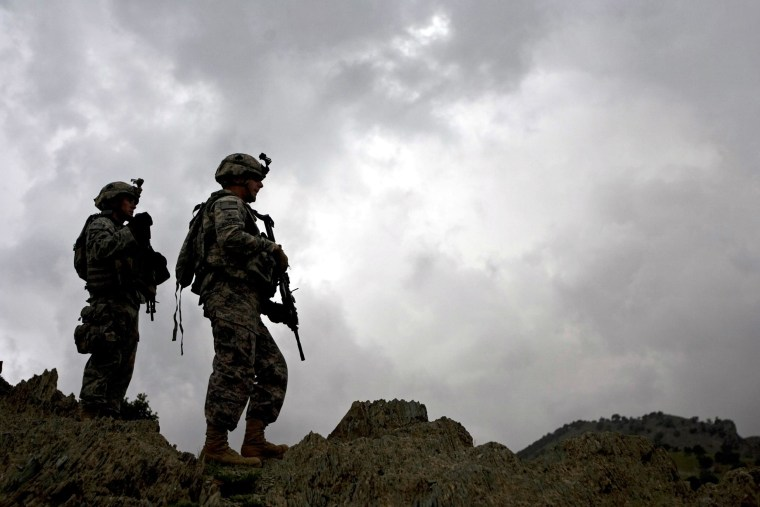 U.S. soldiers from 101st Airborne Division, 506th Infantry Regiment, 2nd Battalion, 4th Platoon patrol in Khost province