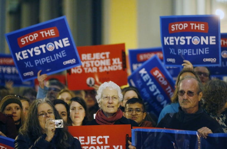 Image: File photo shows demonstrators protesting against the proposed Keystone XL oil pipeline in San Francisco, California