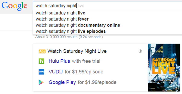An example of Google providing legal options when searching for a show.