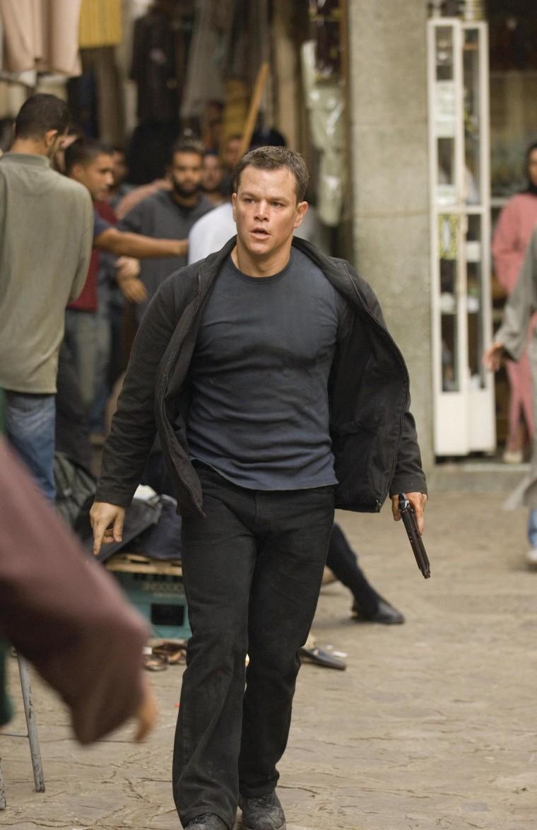 "Actor Matt Damon as Jason Bourne in a scene from \""The Bourne Ultimatum.\"""