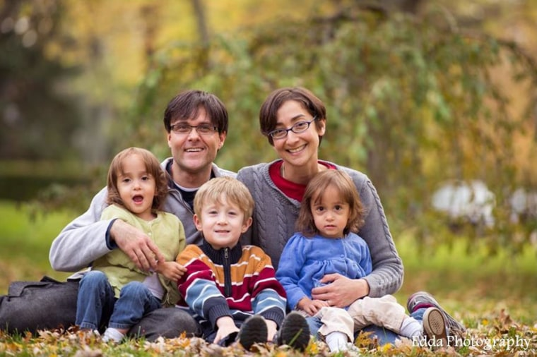 Tori Tomalia was diagnosed with lung cancer at 37. She is shown here with her family.