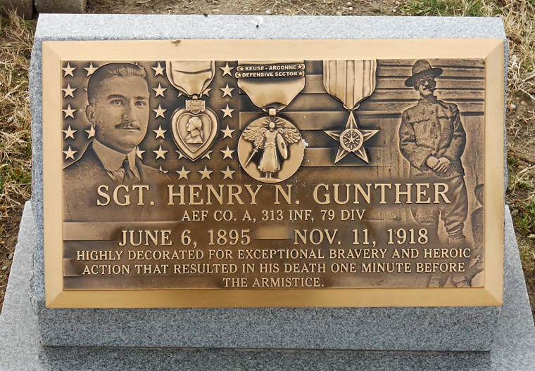 A plaque at the grave of Sgt. Henry N. Gunther in Baltimore's Most Holy Redeemer Cemetery.